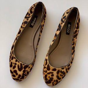 Ecco Leopard Print Calf Hair Flats